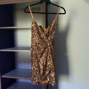 French Connection   Gold Sequin Mini Dress